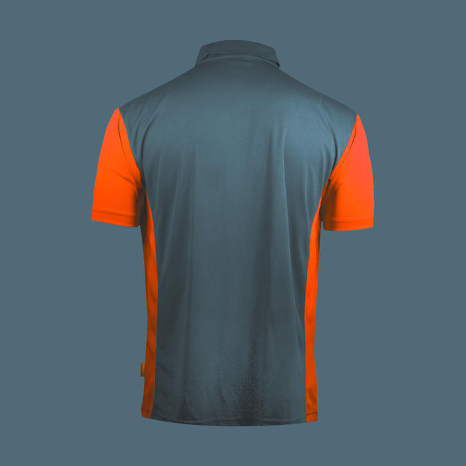 Coolplay Hybrid 3 Shirt Steel Blue & Orange - Back View