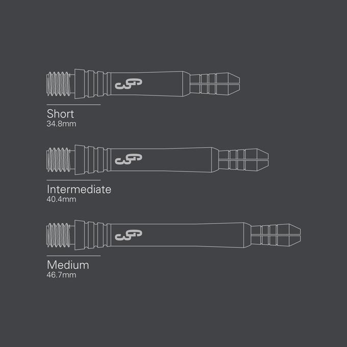 Phil Taylor Power Titanium Gen 3 Shaft Silica Length diagrams