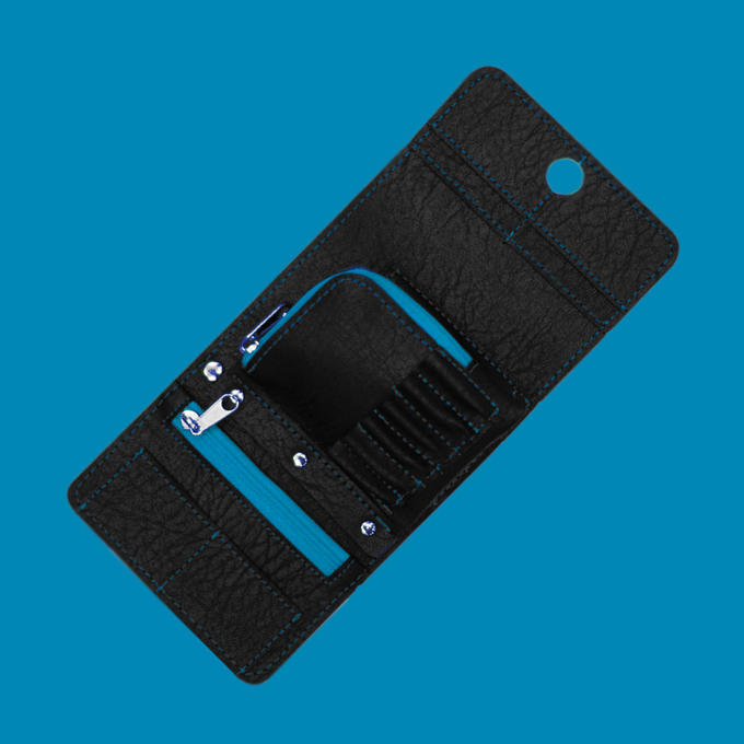 Montana Wallet - Black with Blue Strip - Contents