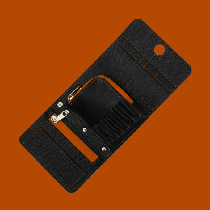 Montana Wallet - Black with Orange Strip - contents