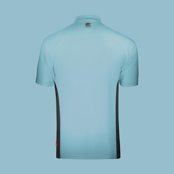 Coolplay Collarless Shirt Light Blue & Black - Back View