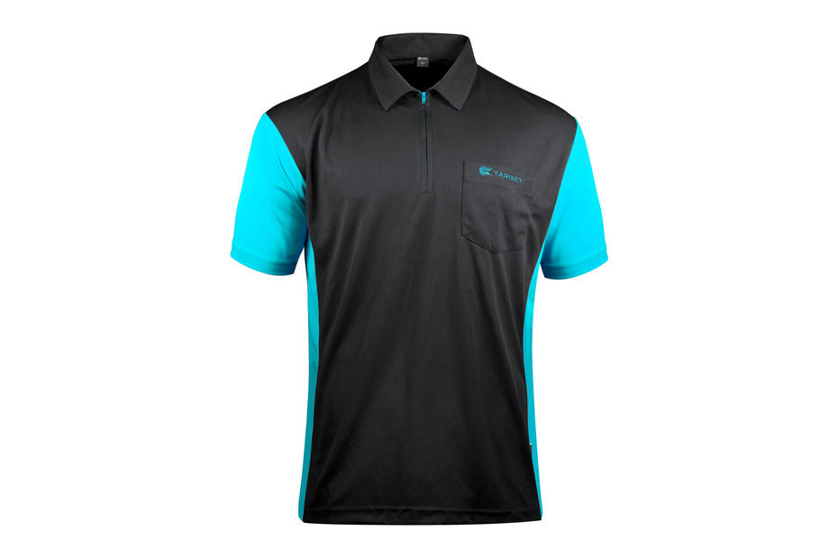 Coolplay Hybrid 3 Black and Aqua Shirt - Front View