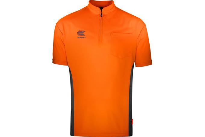 Coolplay Collarless Shirt Orange & Dark Grey - Front View